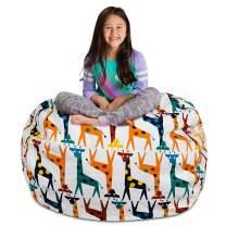 "Posh Stuffable Kids Stuffed Animal Storage Bean Bag Chair Cover - Childrens Toy Organizer, X-Large-48"" - Canvas Giraffes on White"