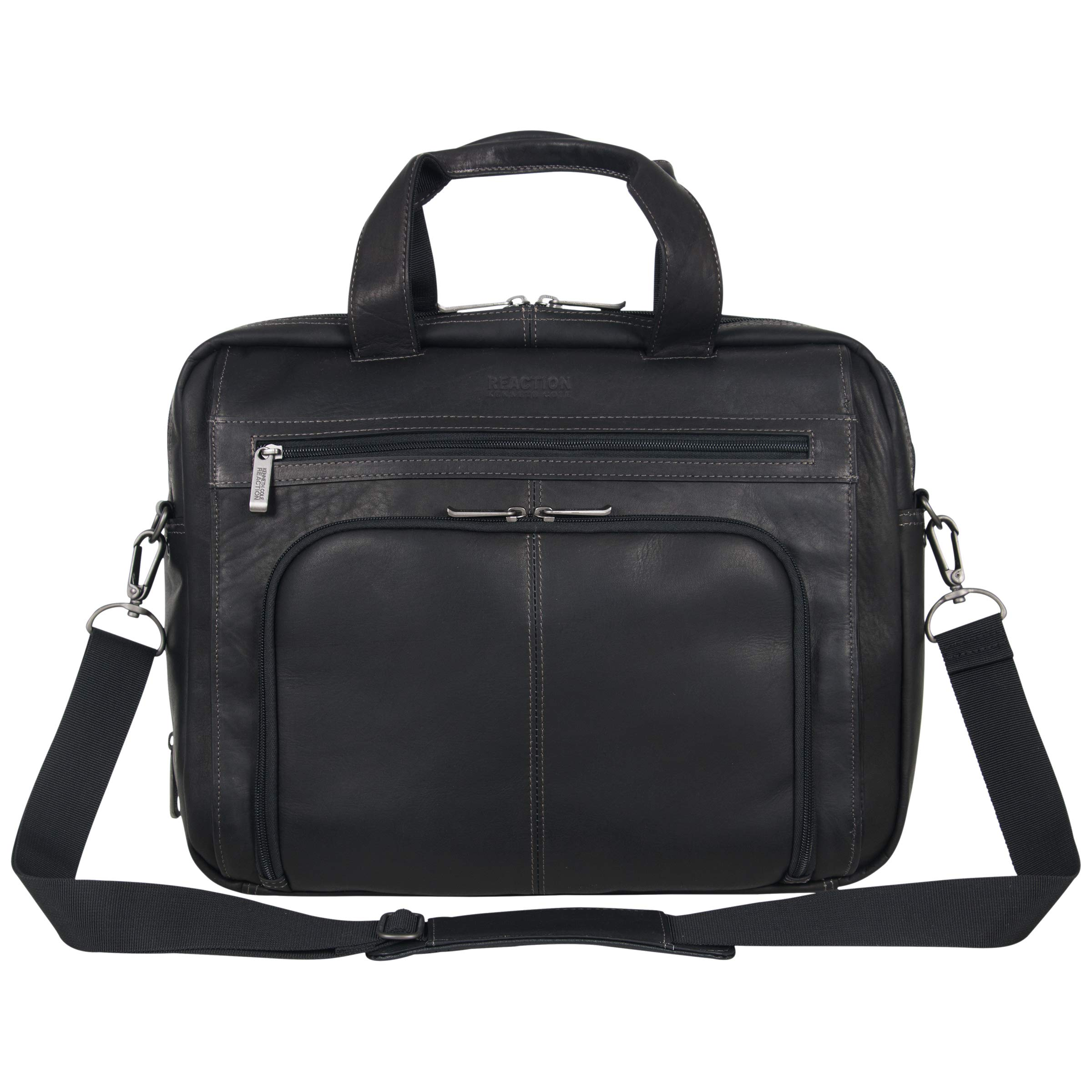 """Kenneth Cole Reaction Manhattan Colombian Leather Expandable RFID 15.6"""" Laptop & Tablet Briefcase Bag Laptop"""