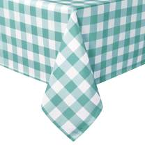 Hiasan Checkered Square Tablecloth - Stain Resistant, Waterproof and Wrinkle Resistant Washable Table Cloth for Dining Room and Outdoor Use, 60 x 60 Inch, Aqua and White Gingham Pattern