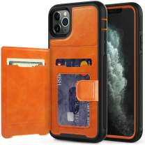 timecity iPhone 11 Pro Max Wallet Case with Card Holder,PU Leather Kickstand Card Slots Case.with Magnetic Clasp and Durable Shockproof Cover for iPhone 11 Pro Max 6.5 Inch 2019 Release - Orange
