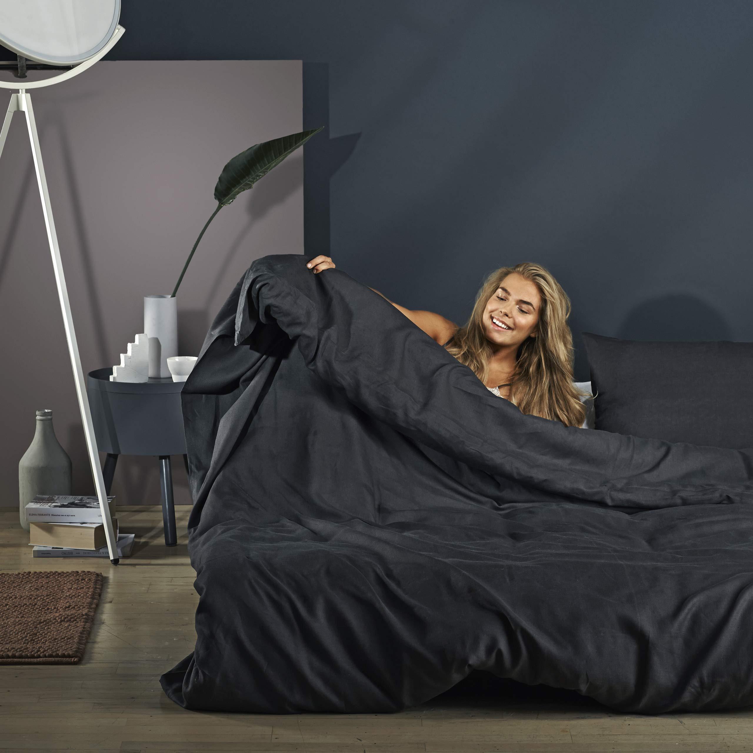 Danmats Luxurious 100% French Linen, European Flax, 3 Piece Duvet Cover Set Bed Set Bedsheet, Charcoal/Dark Gray (Queen, King) (Queen)