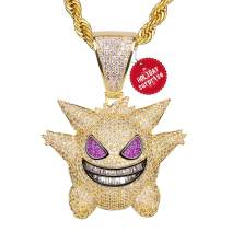 """TSANLY Diamond Chain Gengar Chain Pokemon Necklace White Gold Plated with Killy Pendant Ice Out Hip Hop Medallion 24"""" Rope Chain + Storage Case + Microfiber Cloth"""