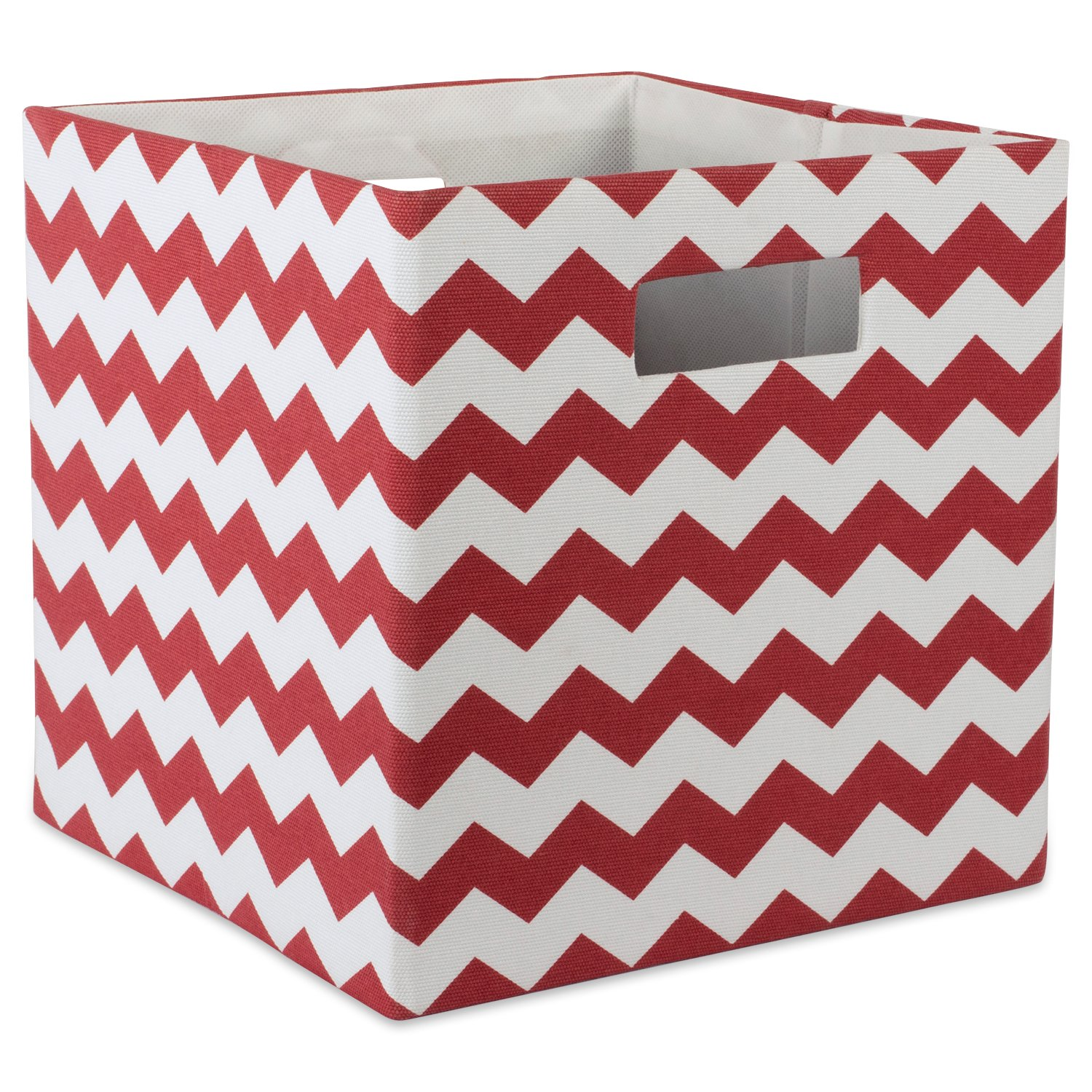 "DII Hard Sided Collapsible Fabric Storage Container for Nursery, Offices, & Home Organization, (11x11x11"") - Chevron Rust"