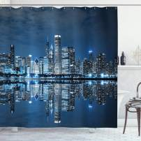 """Ambesonne Landscape Shower Curtain, Chicago Night Sky with Skyscrapers Financial District Tourist Attraction, Cloth Fabric Bathroom Decor Set with Hooks, 70"""" Long, Night Blue"""