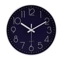 "jomparis 12"" Non-Ticking Wall Clock Silent Battery Operated Round Wall Clock Modern Simple Style Decro Clock Navy Blue Color"