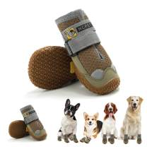 Hcpet Dog Boots Paw Protector, Anti-Slip Breathable Dog Shoes for Small Medium Large Dogs, Puppy Booties with Reflective Straps 4Pcs