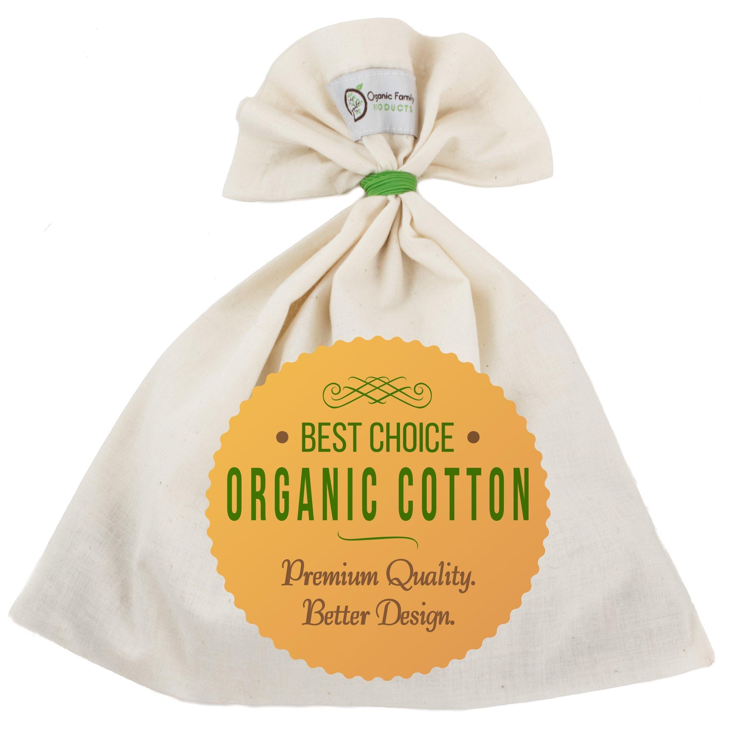 Organic Cotton Nut Milk Bag - Super Smooth Almond Milk Maker - No Seam Bottom, Drawstring Free - Professional Reusable Food Strainer for Yogurt, Cheese, Juice, Tea, Coffee - Natural & Eco-Friendly