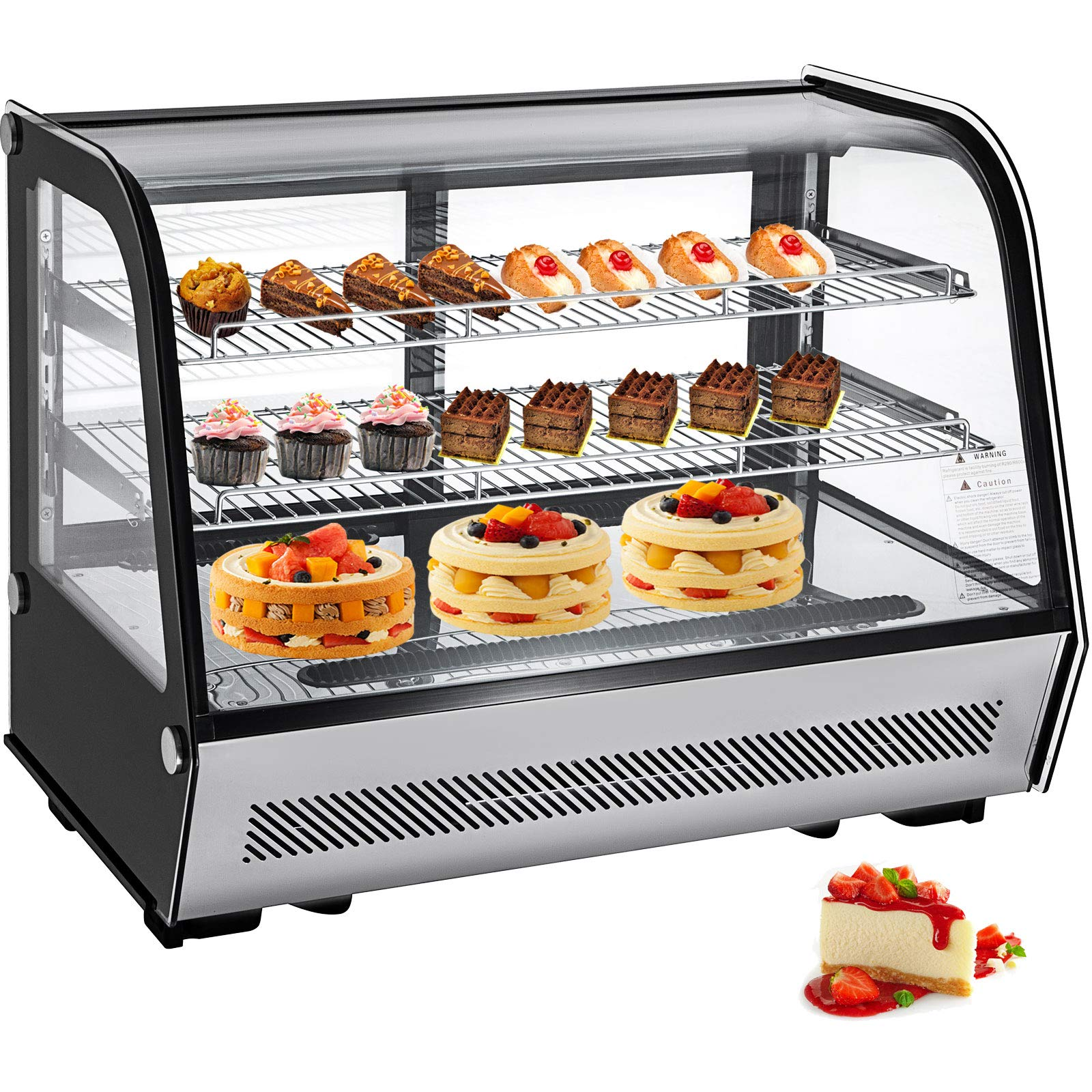 VBENLEM 5.65 cu.ft. Commercial Countertop Refrigerator Silver 160L Stainless Steel Bakery Dairy Display Cooler Case with Automatic Defrost LED Lighting Suit for Cake Roaster Shop Cafe Use