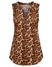 ZKHOECR Women's V Neck Zip Up Casual Tank Top Printing Sleeveless Blouse Shirts