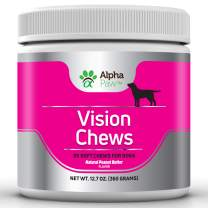 Alpha Paw Vision Supplement for Dogs - Eye Support and Care with Krill Oil, Alpha Lipoic Acid, Grape Seed, Bilberry Antioxidants, Vitamin C, Lutein, Hyaluronic Acid - 360 Grams Approx. 90 Soft Chews
