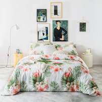 SUSYBAO Duvet Cover 3 Piece Set 100% Egyptian Cotton Flamingo Bedding Set King Size 1 Green Tropical Leaves Duvet Cover with Zipper Ties 2 Pillowcases Hotel Quality Silky Soft Breathable Comfortable