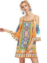 Milumia Women's Tribal Print Kimono Sleeve Geometric Tunic Boho Dress