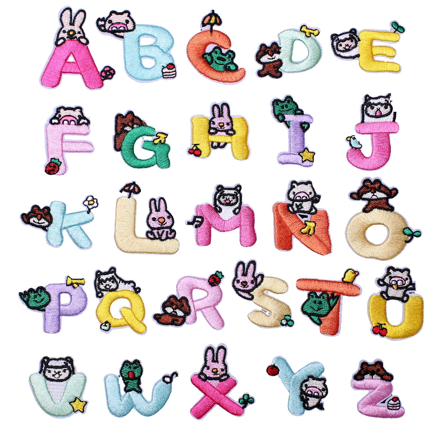 SHELCUPCool Embroidered Iron Patches, for Jackets, Packs, Jeans, Assorted Styles, 26pcs Letters Style 5