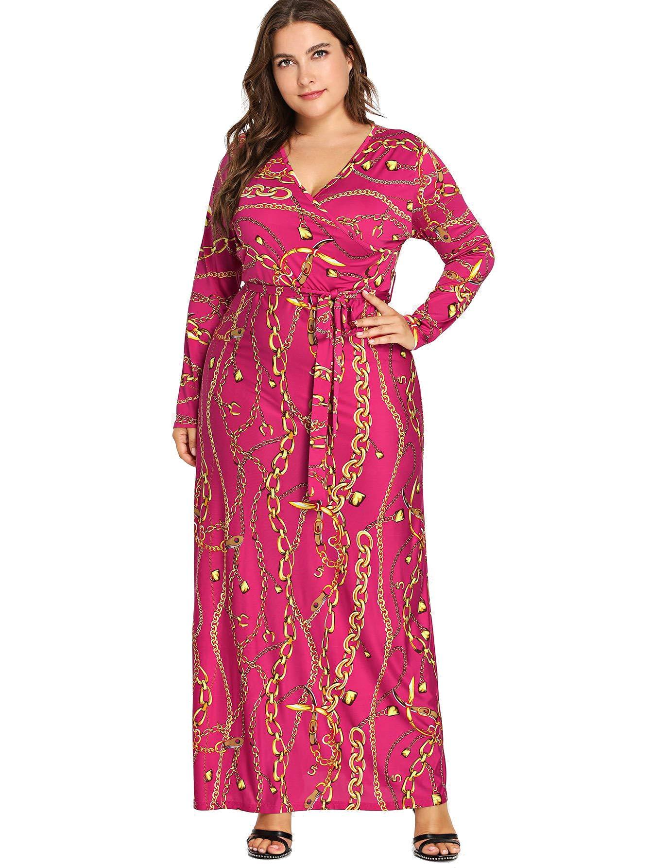 Milumia Plus Size Maxi Floor Length Wrap Empire Waist Boho Floral Flowy Dress