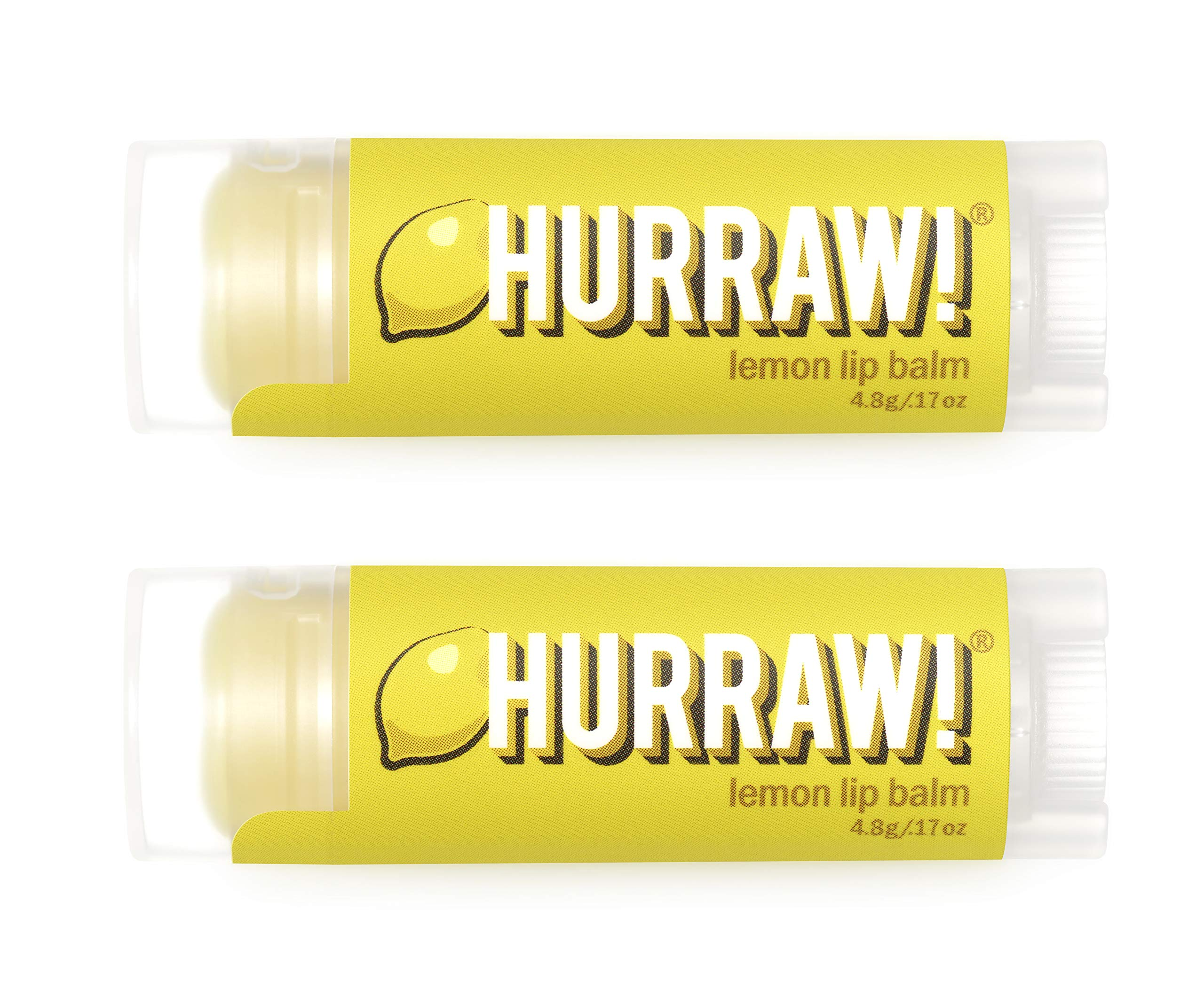 Hurraw Lemon Lip Balm, 2 Pack – Organic, Certified Vegan, Cruelty and Gluten Free. Non-GMO, 100% Natural Ingredients. Bee, Shea, Soy and Palm Free. Made in USA