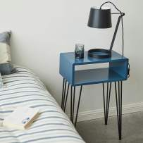 COZAYH Modern Contemporary Nightstand, Extreme Minimalism Open Shelf Style on Metal Hairpin Legs (Blue&Black)