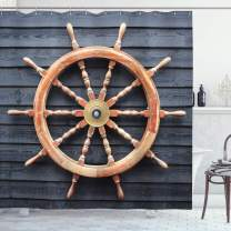 """Ambesonne Ships Wheel Shower Curtain, Old Trawler Steering Wheel Hardwood Timber Wall Control Captain, Cloth Fabric Bathroom Decor Set with Hooks, 70"""" Long, Grey Brown"""