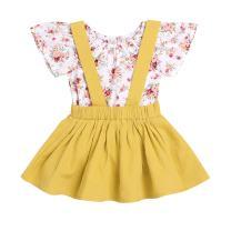 YOUNGER TREE Toddler Baby Girls Short Sleeve Floral Romper + Suspender Skirt 2Pcs Clothes Set