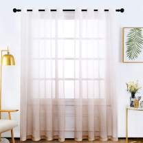 Bermino Faux Linen Sheer Curtains Voile Grommet Semi Sheer Curtains for Bedroom Living Room Set of 2 Curtain Panels 54 x 84 inch Light Brown Gradient