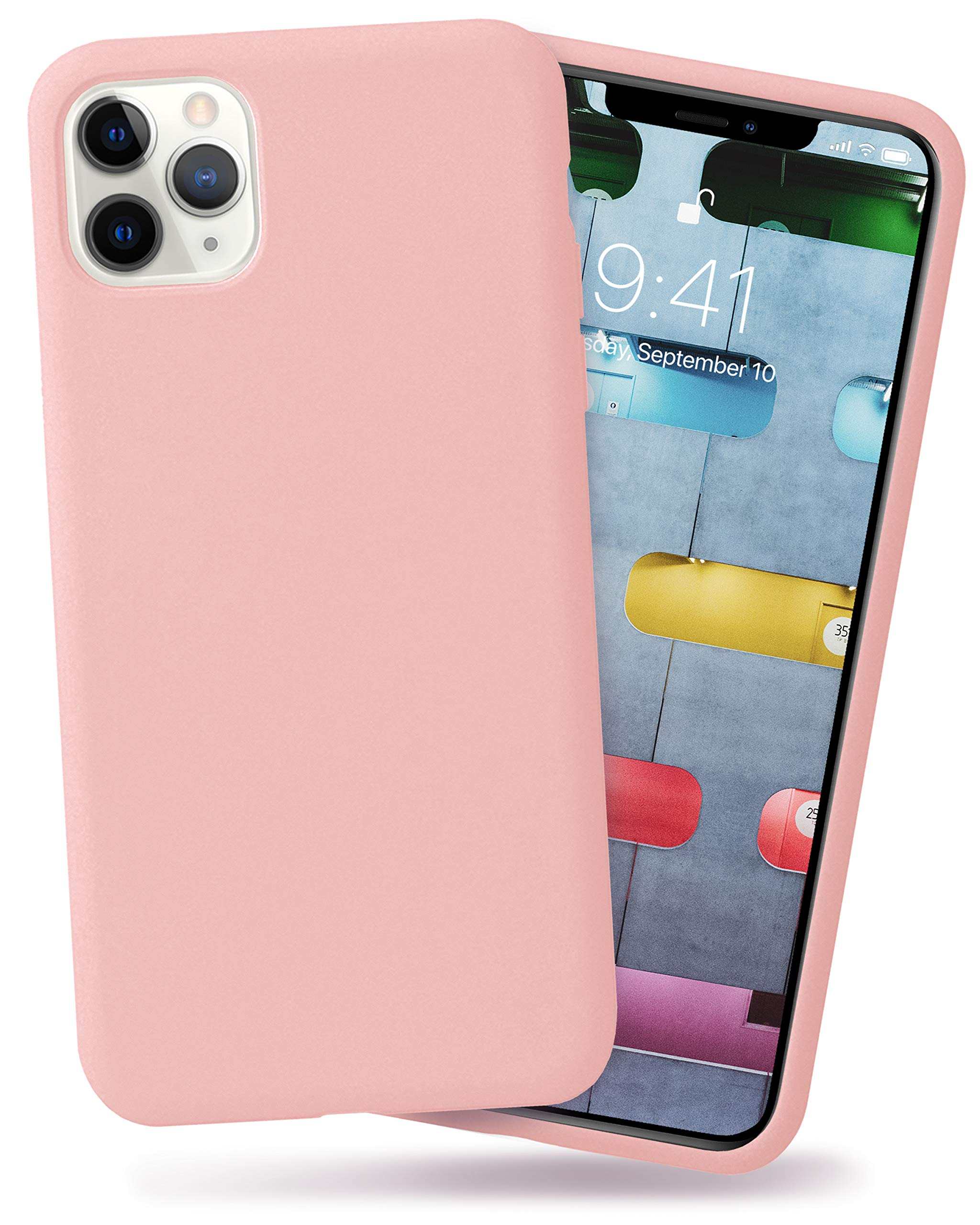 OCOMMO iPhone 11 Pro Silicone Case, Full Body Shockproof Protective Liquid Silicone iPhone 11 Pro Case with Soft Microfiber Lining, Wireless Charging Pad Compatible, Cherry Pink