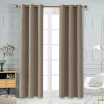 Deconovo Thermal Insulted Blackout Bedroom Curtains Room Darkening Curtain Panels for Living Room 42x108 Inch Khaki
