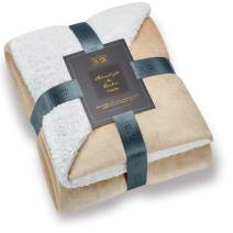 Hyde Lane Comfy Sherpa Throw Blankets for Couch and Bed | 2 Way Reversible - Sherpa & Berber - Plush Fleece Soft Throw Blanket Adults Size with Fuzzy Faux Fur (Beige, 50 x 60)