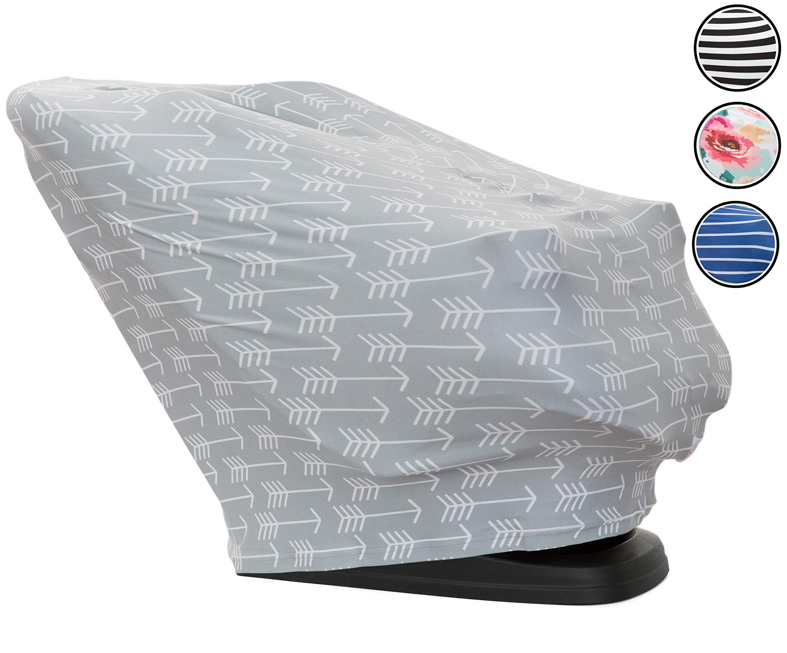 Baby Shine Premium Nursing Cover - Extra Soft, 6 in 1 Multi-Use Breastfeeding Cover for Baby Car Seat, Stroller, Scarf, and Shopping Cart (Grey & White Arrows)