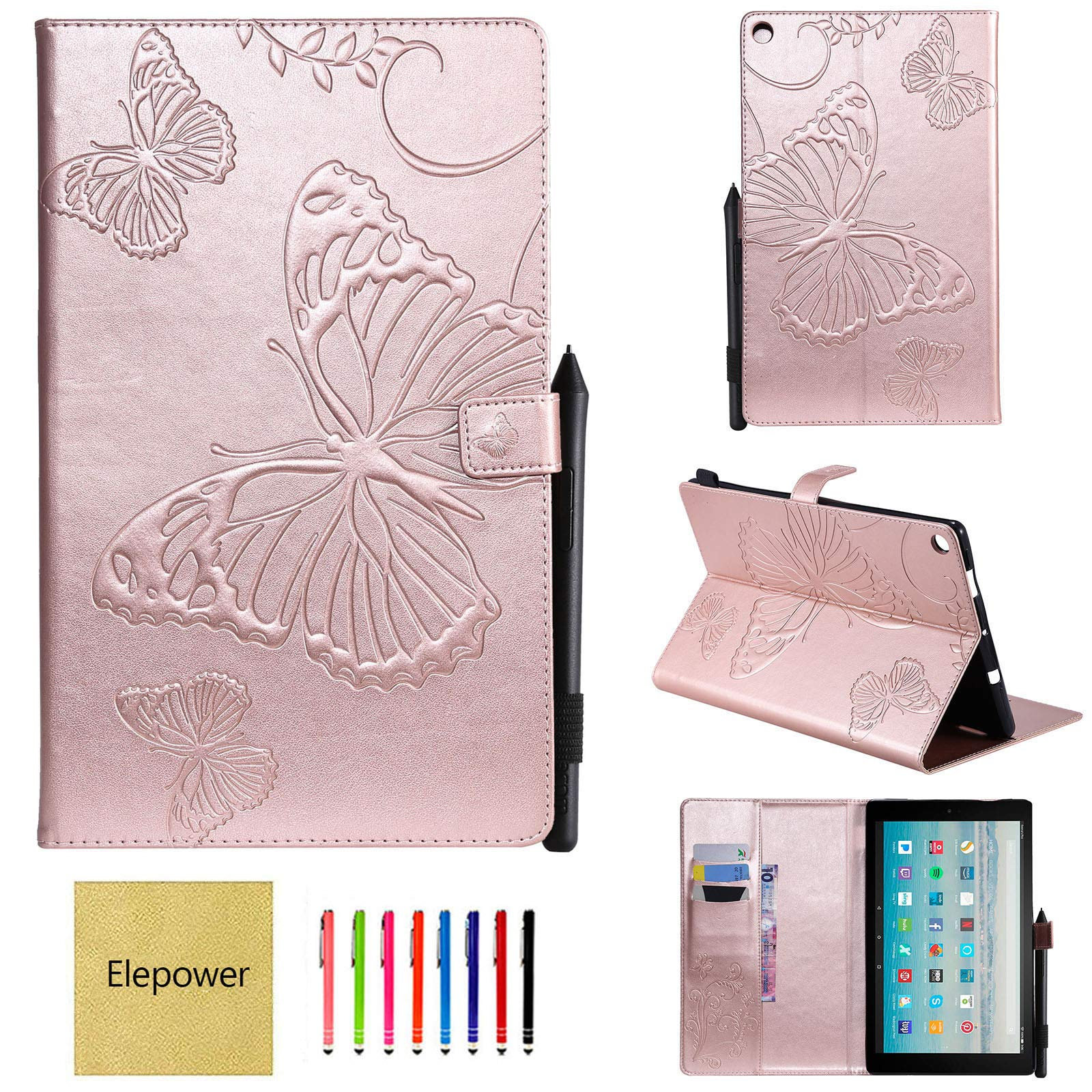 All-New Fire HD 10 Tablet(7th Generation/9th Generation, 2017/2019 Release), Elepower Butterfly Embossed Folio Folding Stand Cover with Card Stylus Holder for Kindle 10.1 Inch Tablet, Rosegold