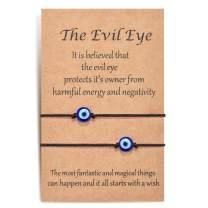 Shonyin Handmade Evil Eye Bracelets Set with Card Red String Bracelet Kabbalah Protection Luck Amulet for Women Men Family Friends