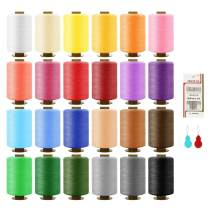 24 Colors Sewing Thread 985Yard(900m) Sewing Kit for Spools 100% Colored Polyester, Silky, and Resistant with 16 Needles and 2 Threader Suitable for Machine Sewing and Hand Sewing
