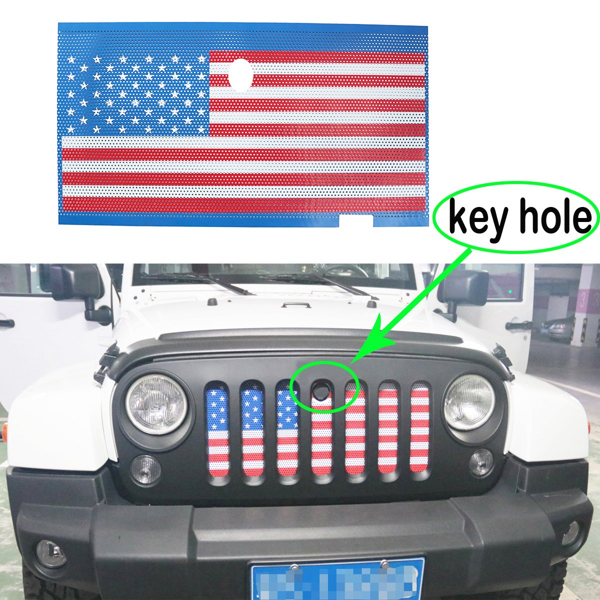 MOEBULB American Flag Steel Front Grill Insert Mesh Grille for 2007-2017 Jeep Wrangler JK 2/4 Door (with Key Hole)