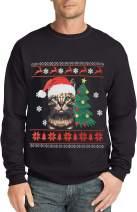 RAISEVERN Men Christmas Sweatshirt Cotton Fleece Crewneck Pullover Funny Long Sleeve Festival Ugly Sweater