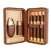 CIGARISM 4 Count Ostrich Pattern Genuine Leather Cedar Cigar Travel Case Humidor Cutter Lighter Set