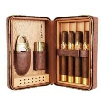 CIGARISM 4 Count Ostrich Pattern Genuine Leather Cedar Cigar Travel Case Humidor Cutter Lighter Set