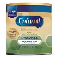 Enfamil ProSobee Soy Sensitive Tummy Baby Formula Dairy-Free Lactose-Free Milk-Free Plant Protein Powder 22 oz. Can, Omega 3 DHA & Iron, Immune & Brain Support