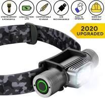 SLONIK Rechargeable Headlamp for Adults 1000 Lumens Super Bright 600 ft Beam LED Headlamp 2200mAh Battery – Lightweight, Heavy-Duty, IPX8 Waterproof Hard Hat Light – Camping, Running Headlight (Camo)
