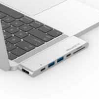 LENTION USB-C to Digital AV Portable Adapter with 40Gbps Thunderbolt 3 Port, 100W Power Delivery, 4K HDMI, 2 USB 3.0, Card Readers Compatible 2016-2019 MacBook Pro 13/15/16, New Mac Air (Silver)