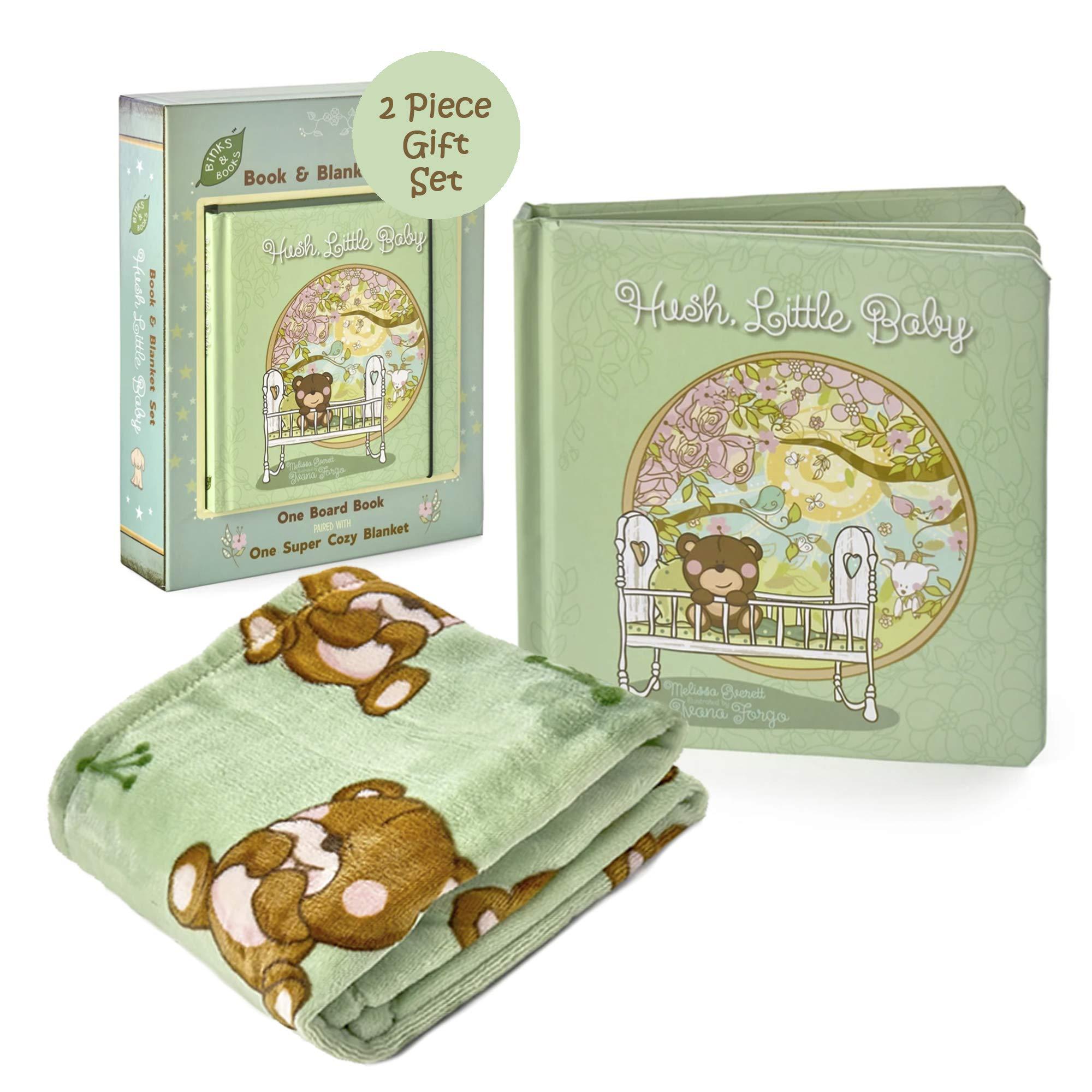 Binks & Books Baby Blanket & Nursery Rhyme Book Set | Hush, Little Baby