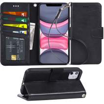 Arae Case for iPhone 11 PU Leather Wallet Case Cover [Stand Feature] with Wrist Strap and [4-Slots] ID&Credit Cards Pocket for iPhone 11 6.1 inch 2019 Released - Black