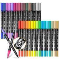 Hethrone Coloring Markers Dual Brush Pens Drawing Markers Felt Tip Pens Art Markers for Adult and Kids 34pcs