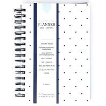 Daily to-Do List Planning Journal with Monthly Calendar, Undated, 6x9 inches, Premium Paper (NavyMD)