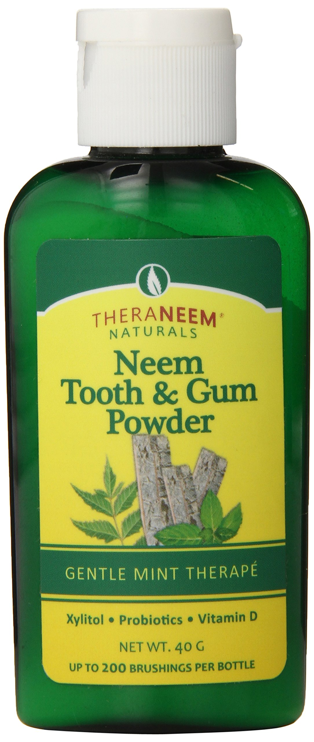 TheraNeem Tooth & Gum Powder   Supports Healthy Teeth & Gums with Probiotics, Vitamin D   Mint, 40 grams, Up to 200 Uses