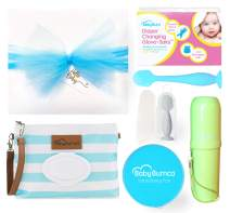 Boy Baby Bumco Gift Box - Pre-Wrapped & Ready - Diaper Clutch, Diaper Cream Brush, Mini Diaper Cream Brush, Little Booty Fan, and Gloves! (Blue)
