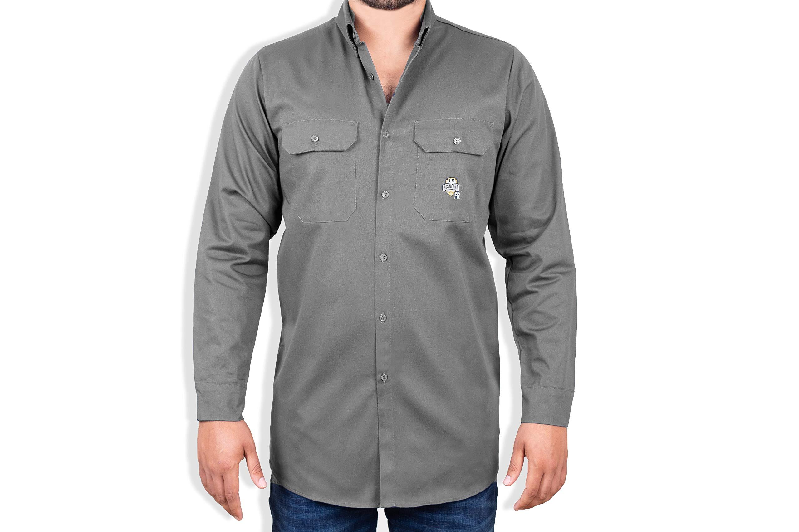 Ur Shield FR Shirt for Men - Fire Resistant Shirt - Work Shirt - Welding Shirt 2XL, Grey Fire Retardant Shirt - FR Clothing for Welders & Electricians