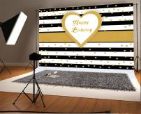 Laeacco 5x3ft Black and White Stripes Photography Background Photographic Backdrop with Hearts Happy Birthday Party Decorations Background Shiny Hearts Love Children Home