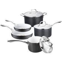 Classic Nonstick Pots and Pans Set, Cooksmark White Ceramic Coating Hard-Anodized Aluminum Scratch Resistant PTFE, PFOA Free  Cookware Set With glass lids, 5-PCS Black