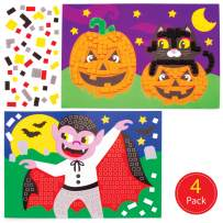 Baker Ross Halloween Self-Adhesive Foam Mosaic Decoration Stickers   Fun Kids Arts & Crafts Project   No Glue or Scissors Needed   Pack of 4 Tile Design Sheets