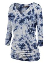 LL Womens 3/4 Sleeve Tie-Dye Ombre Dolman Top - Made in USA
