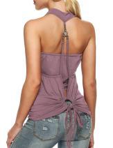 Zeagoo Women's Halter Top Sleeveless Backless Summer Tops Backless Twinset Top