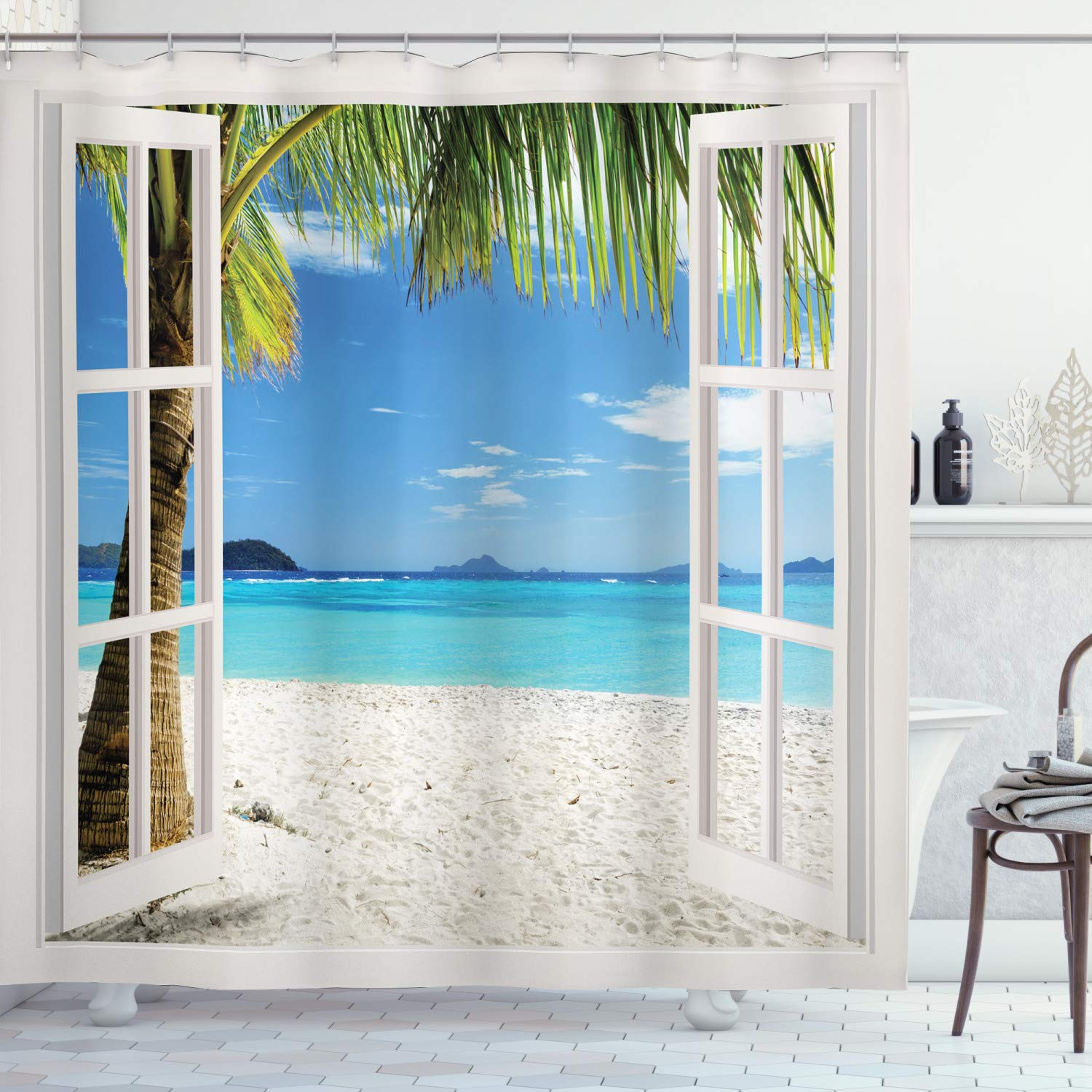 """Ambesonne Turquoise Shower Curtain, Tropical Palm Trees on Island Ocean Beach Through White Wooden Windows, Cloth Fabric Bathroom Decor Set with Hooks, 84"""" Long Extra, White Blue"""